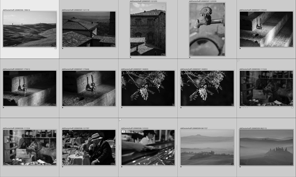 A grid of images converted to black and white
