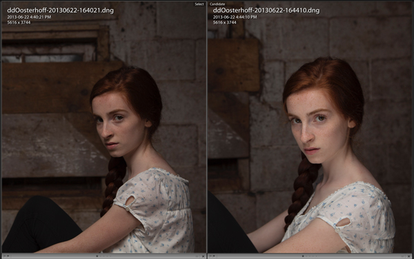 Two photographs of a model side by side for comparison