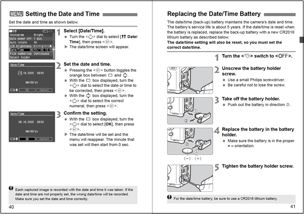 Pages from a camera manual showing how to change the date and time