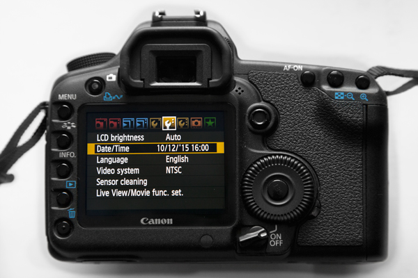 Back of a camera showing the menu