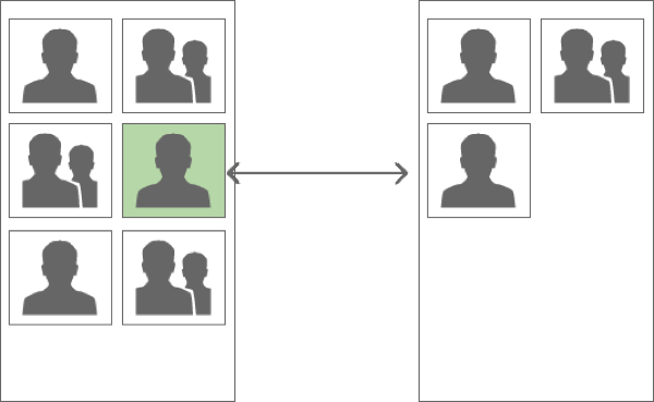 Wireframes of the application showing a master detail pattern