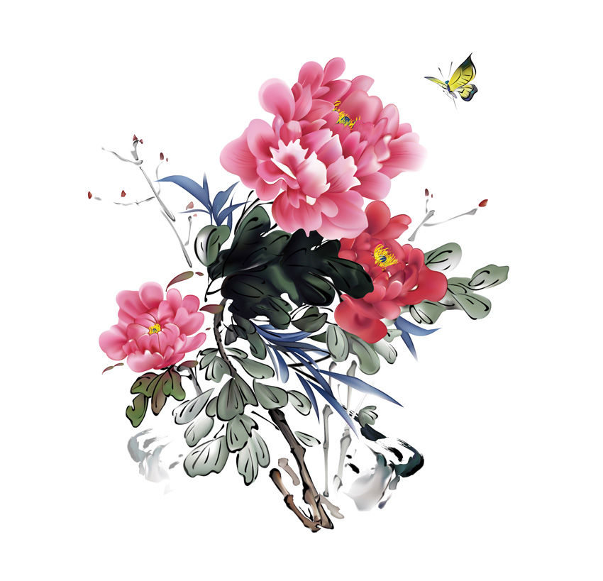 Final Product Chinese Traditional Bird and Flower painting Vector