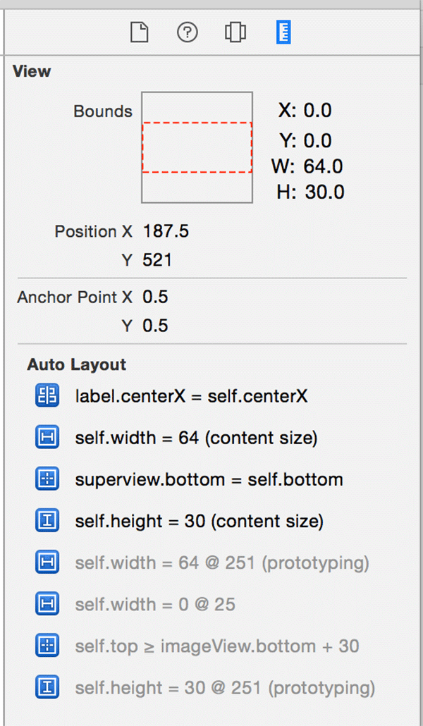 The Auto Layout constraints of the stack views button