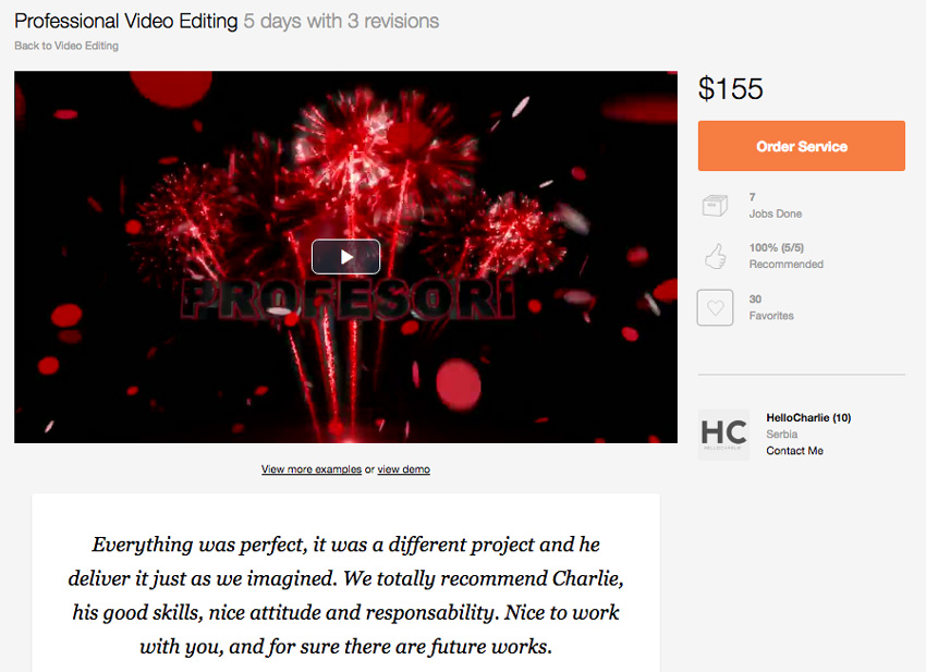 Professional Video Editing on Envato Studio