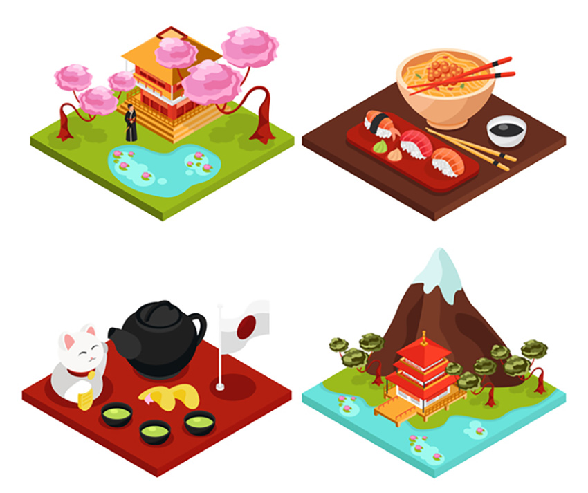 Japan Isometric Concept