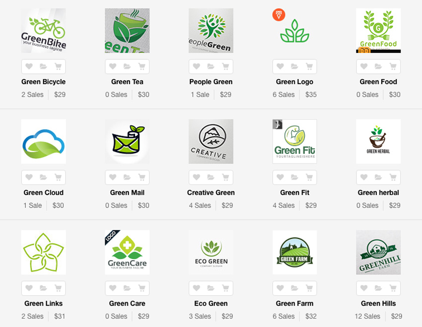 Green logo templates on Envato Market