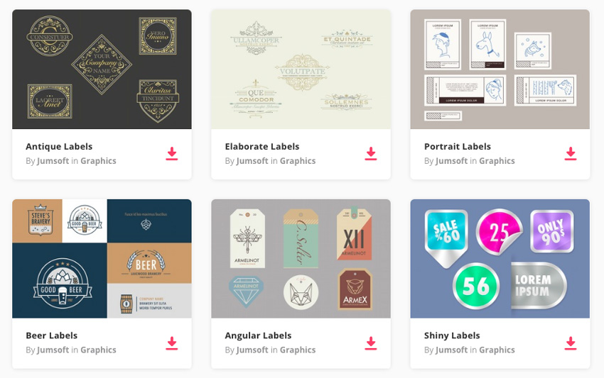 selection of labels on Envato Elements