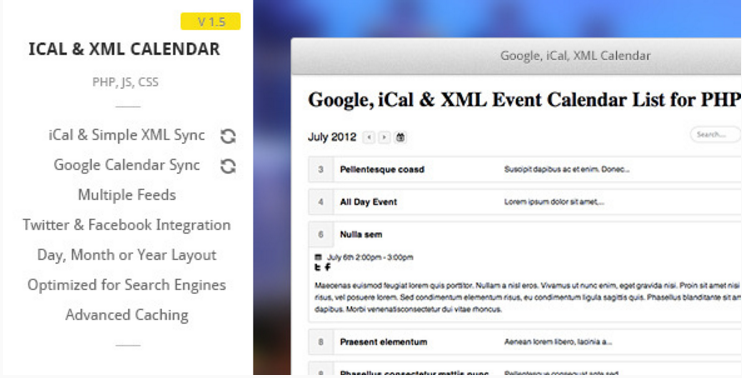 Google iCal  XML Event List Calendar for PHP