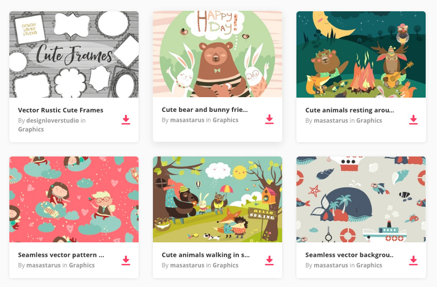 Cute vector illustrations on Envato Market