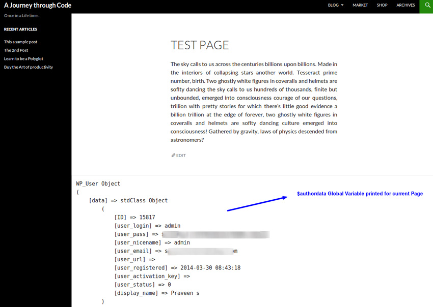 author data test page