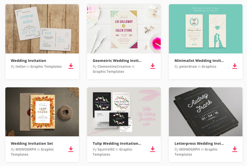 Wedding invitation templates on Envato Elements