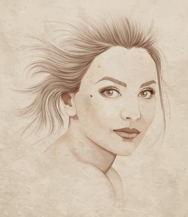 Monochrome portrait by Sharon Milne from Advanced Vector Portraits