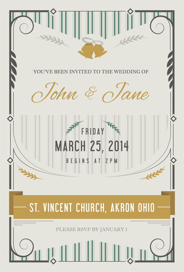 wedding invitation made in Adobe Illustrator