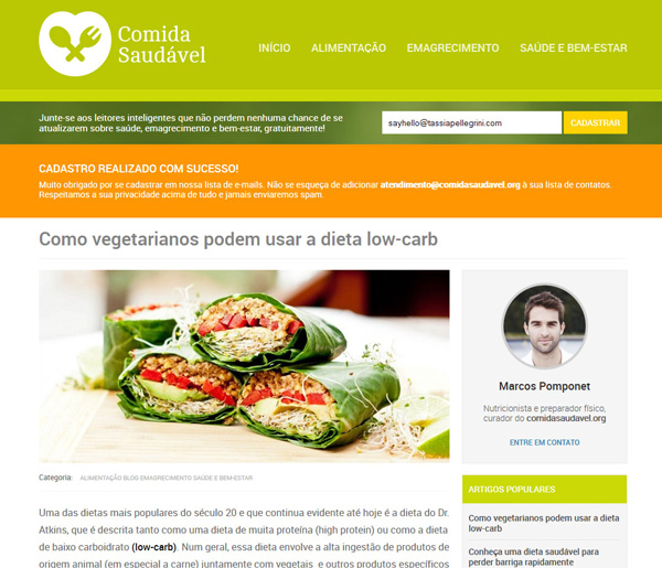 Tassias website and visual identity design for Comida Saudavel