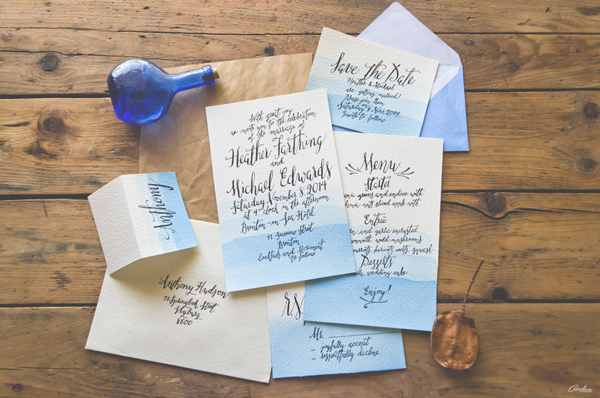 Wedding calligraphy suite by Catherine Dawes