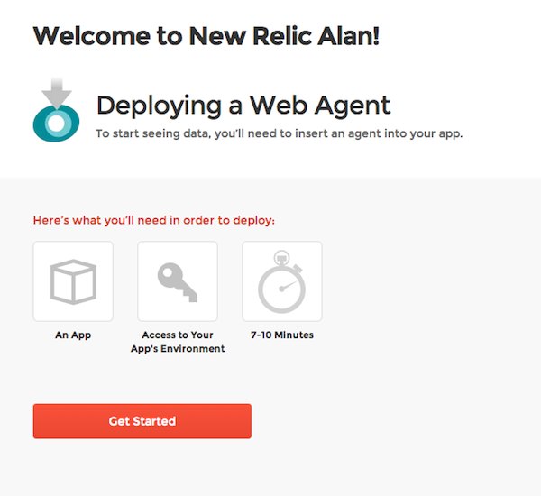 New Relic welcome page