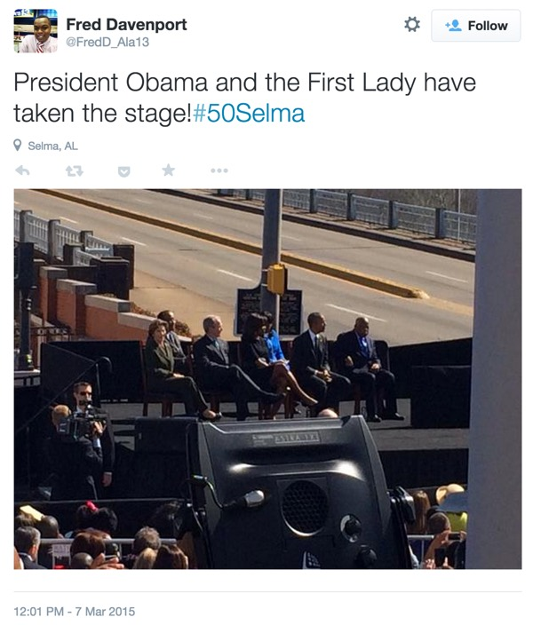 Tweet about President Obama taking the stage at Selma