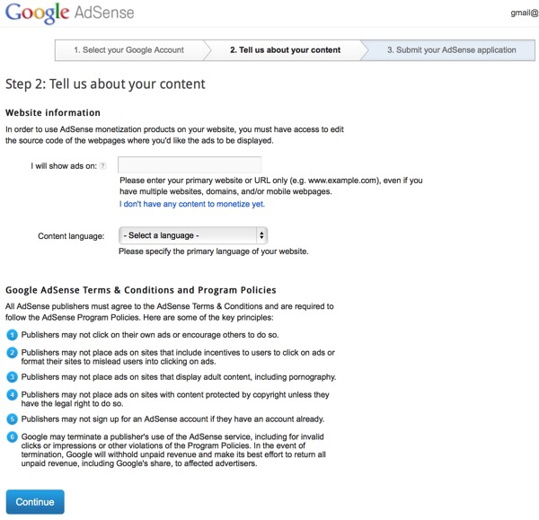 Google AdSense Three part sign up - step two