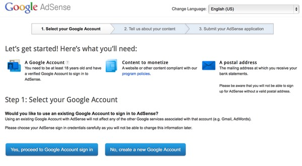 Google AdSense Three part sign up - step one