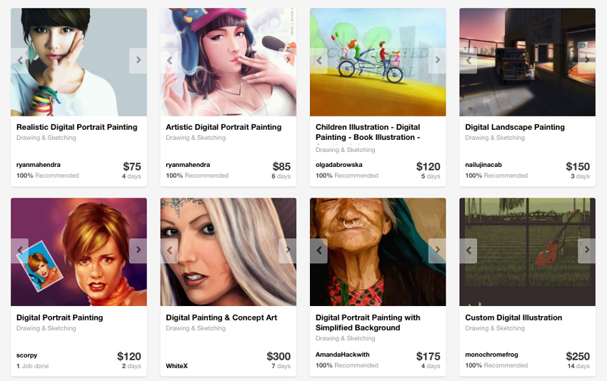 Digital painting providers on Envato Studio