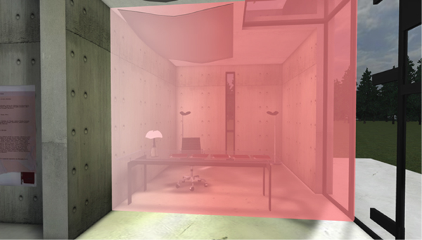 invisible bounding element in a semitransparent red color