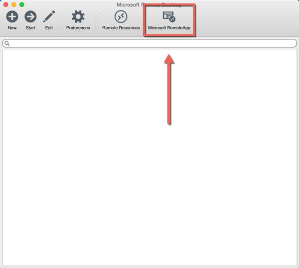 Microsoft RemoteApp button