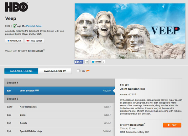 VEEP screen on Xfinity when not logged in