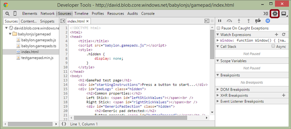 Chrome Developer Tools page