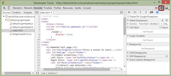 Chrome Developer Tools page