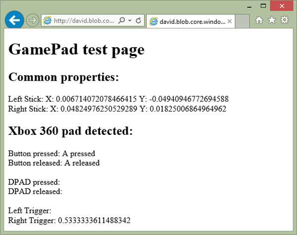 GamePad test page Common Properties