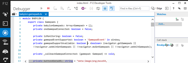 babylongamepadts in the IE11 F12 console showing TypeScript language