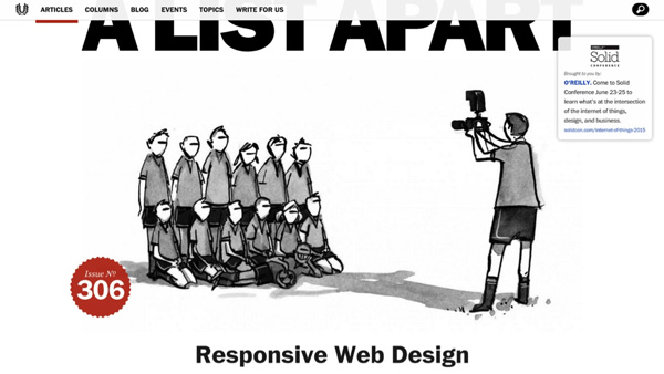 Cover of A List Apart magazine showing Responsive Web Design headline