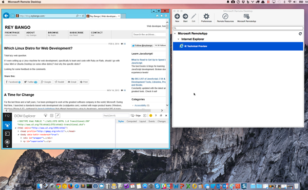 Testing Internet Explorer on iOS Mac OS X and Android