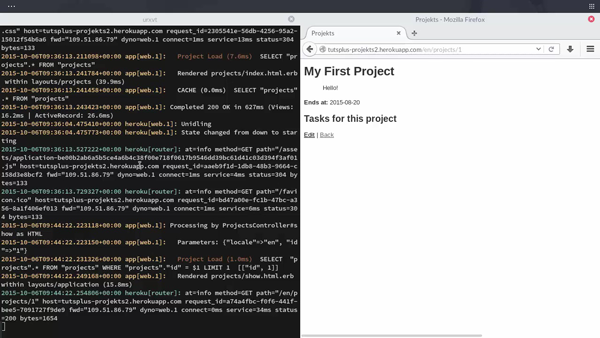 Screenshot of project in Heroku course