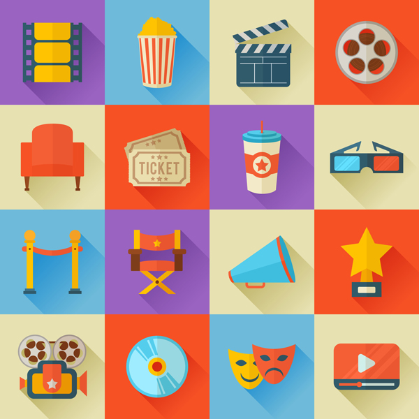 Flat design movie icons