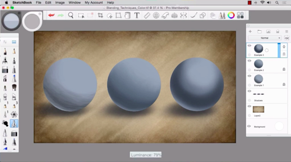 Blending paint in Sketchbook Pro 8