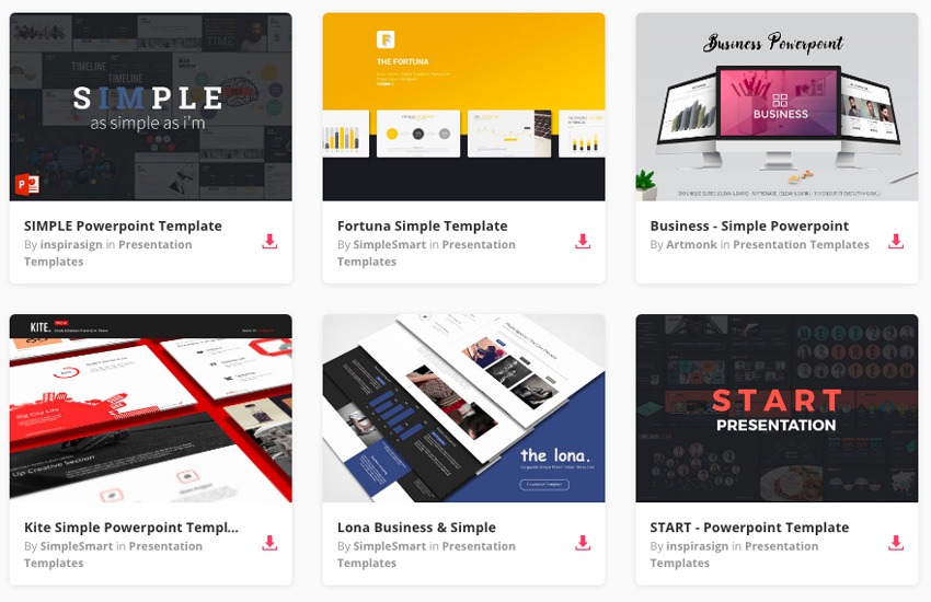 Simple presentation templates on Envato Elements