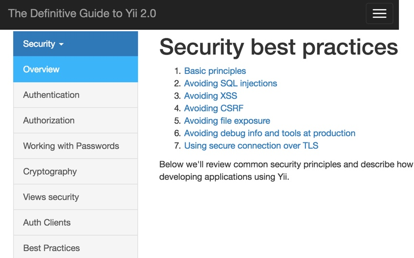 Programming With Yii2: Security