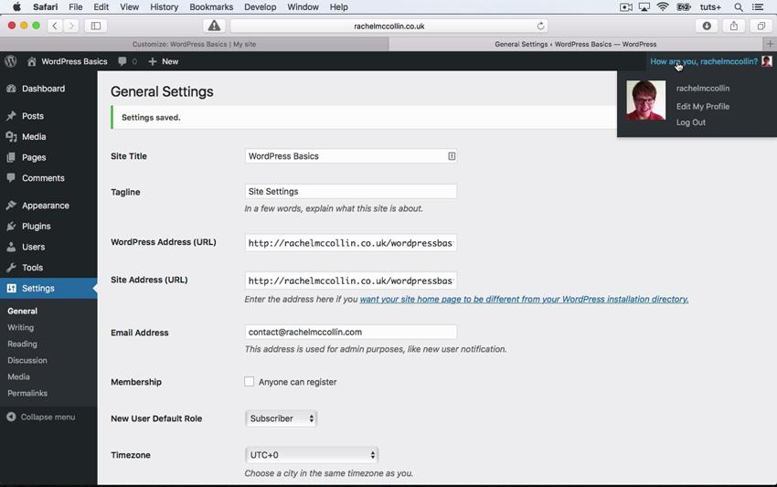 The WordPress General Settings screen
