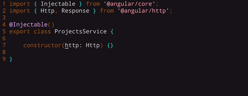 inject the Http class into our ProjectsService