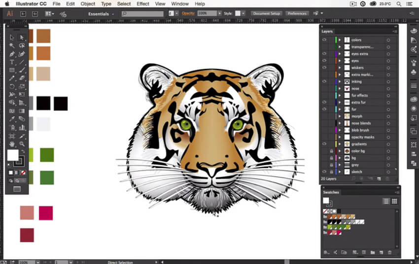 Process of creating a tiger design in Adobe Illustrator