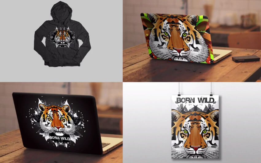 Tiger design used in different end products