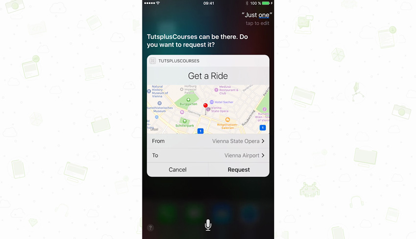Example of ride sharing app in iOS 10