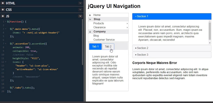 New Short Course: Navigation With jQuery UI