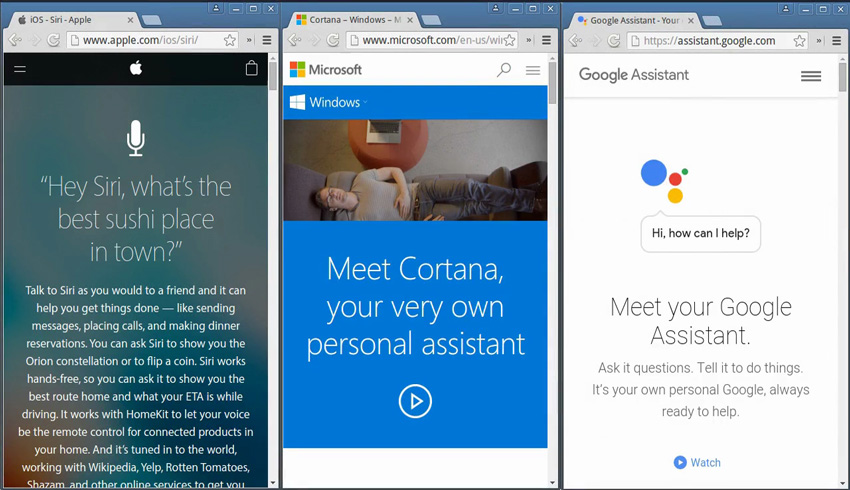 Voice-controlled apps Siri Cortana and Google Now