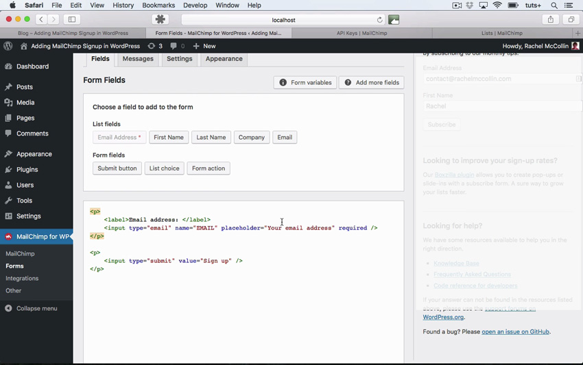 MailChimp widget form field configuration