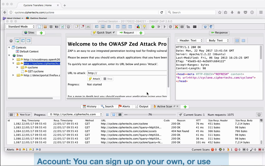 OWASP screen from Tuts course on hacking your own app