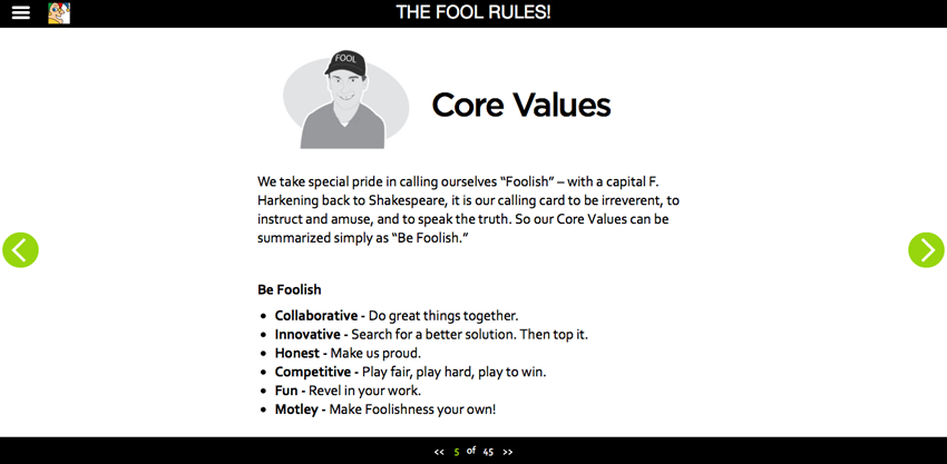 Screenshot from the Motley Fool online employee handbook