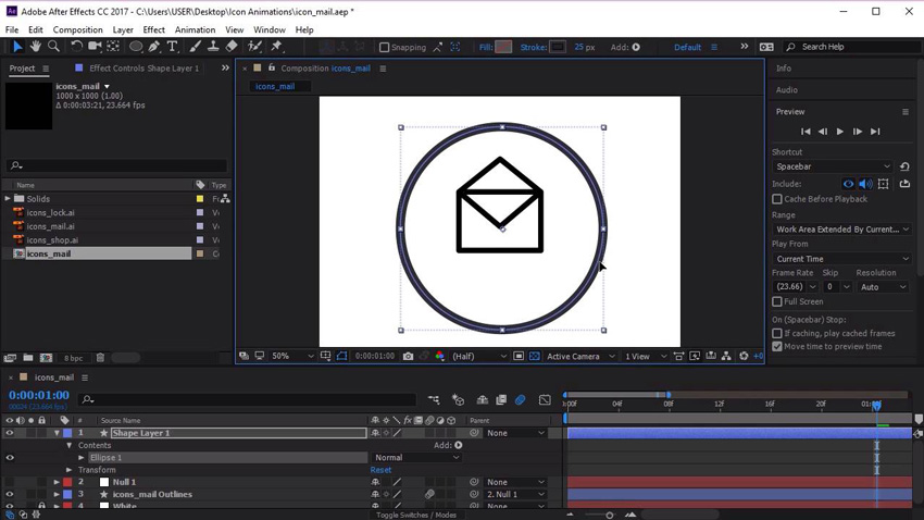 Animating a mail icon