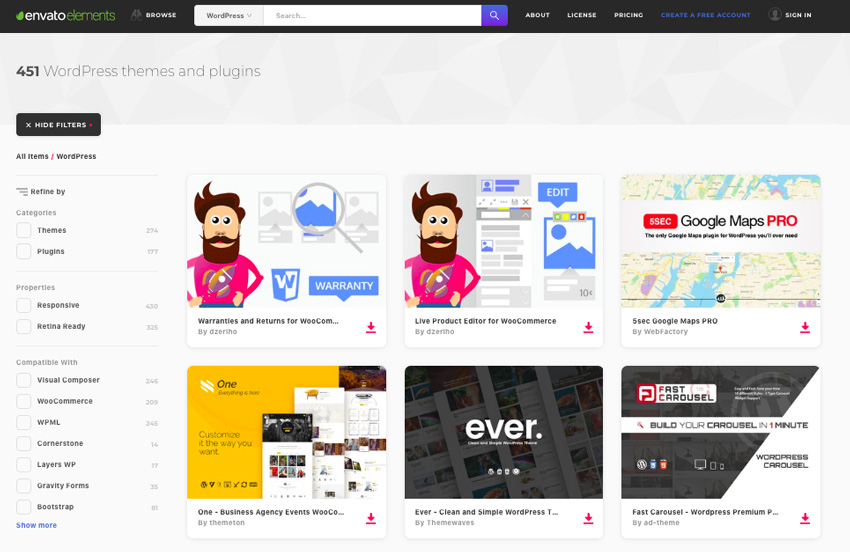 Popular WordPress themes and plugins on Envato Elements
